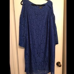 Adrianna Papell Blue Lace Cold Shoulder Dress sz24
